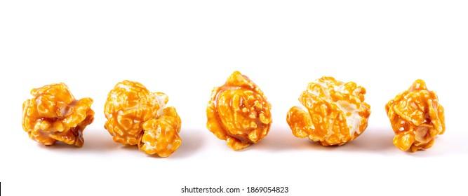 Sweet caramel candy popcorn pieces macro