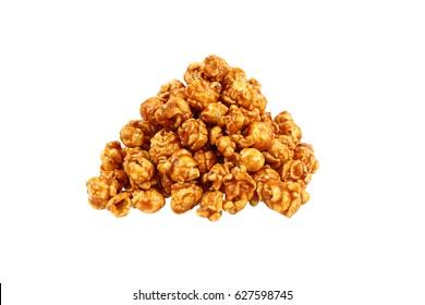 it is sweet caramel popcorn isolated on white.