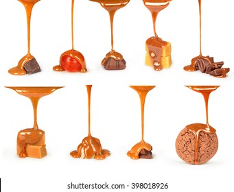 sweet caramel sauce is poured on a chocolate bar, cookies and candies collection