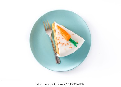 Sweet carrot cake slice isolated on white background. Top view.