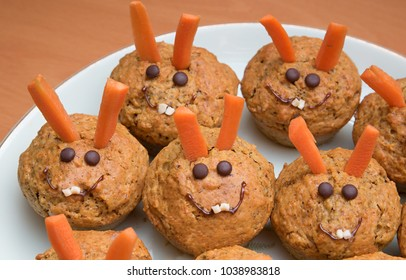 sweet carrot muffins, decorated as easter bunnies