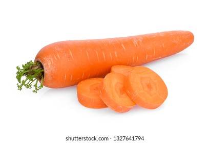 sweet carrot with slices isolated on white background