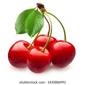 sweet cherries with leaves isolated on a white background