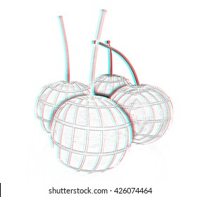 Sweet cherries on a white background. Pencil drawing. 3D illustration. Anaglyph. View with red/cyan glasses to see in 3D.