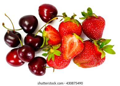 Sweet Cherries and Strawberry Isolated on White Background Studio Photo