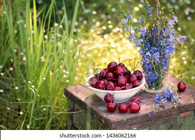 Sweet cherry berries on a white plate on a wooden table with lilac flowers, close up, still life. Top view