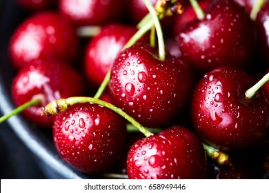 Sweet cherry close-up macro, lies on a plate. Antioxidant, natural, vitamin, organic berry. Drops of water on the surface of berries. Selective focus. Macro background