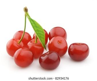 Sweet cherry closeup on white
