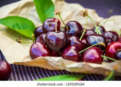 Sweet cherry.  Fruit background.