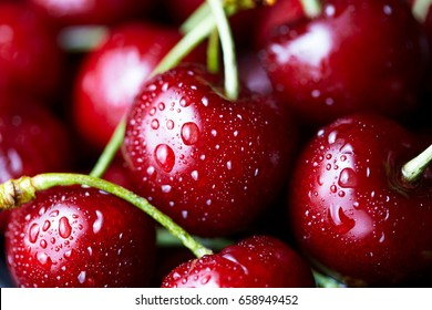 Sweet cherry macro photography close up. Antioxidant, natural, organic, vitamin berry. Selective focus. Drops of water on the surface of berries. Macro background