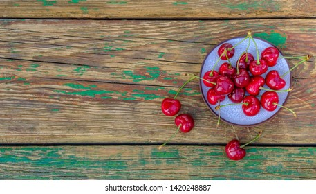 Sweet cherry on the table. View from above.