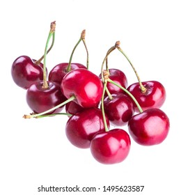 Sweet cherry on a white background. Juicy and ripe cherries with drops of water isolated on a white background