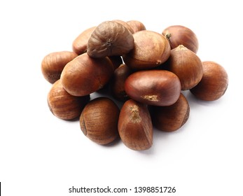 Sweet Chestnuts isolated on white background, Top view.