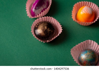 Sweet chocolate bonbons collection, food close-up