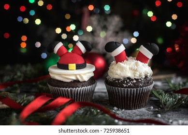 Sweet chocolate cupcakes with Christmas decoration