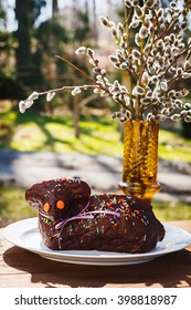 Sweet chocolate easter lamb cake with sprinkles with catkins in background