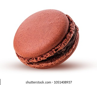 Sweet chocolate macarons isolated on white background. Clipping Path. Full depth of field.