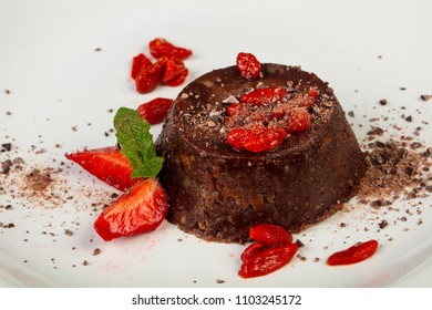 Sweet chocolate puding with srawberry