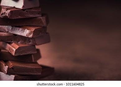 sweet chocolate tower on a stone table