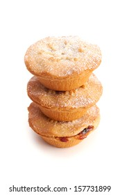 Sweet Christmas mince pies on a white background.
