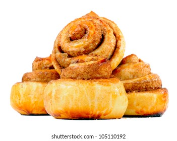 Sweet Cinnamon Buns Isolated on White Background