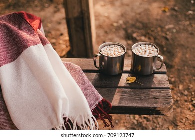 Sweet cocoa with marshmallows standing on a red blanket in autumn forest