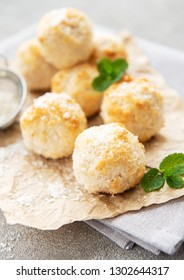Sweet coconut cookies on a concrete background