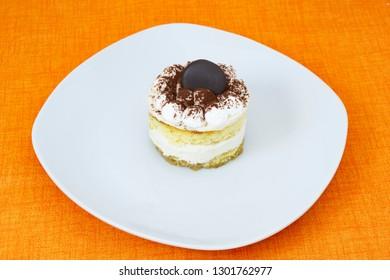 Sweet with coffee and orange, tiramisu, lemon