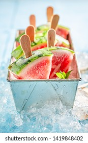 Sweet and cold ice cream made of watermelon on ice