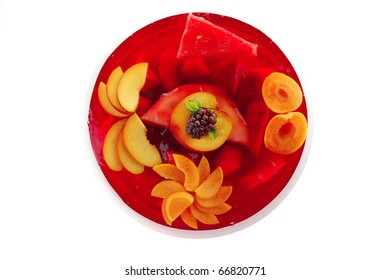 sweet cold red jelly cake with peach