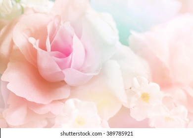 Sweet color fabric roses in soft style for background