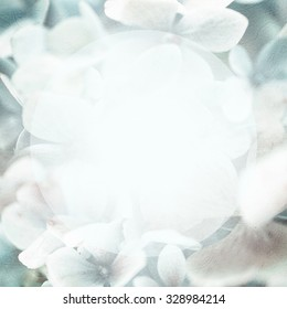 sweet color hydrangeas in soft and blur style on mulberry paper texture for background
