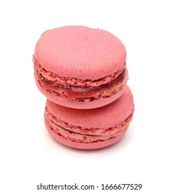 Sweet and colorful french macaroons or macaron on white background, Dessert.