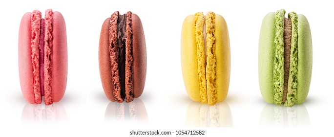 Sweet colorful macarons isolated on white background. Clipping Path. Full depth of field.