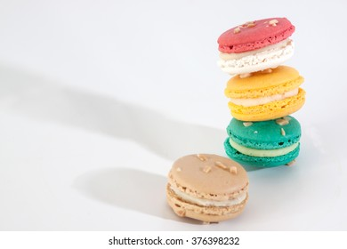 sweet and colorful macaroon stack on white balance