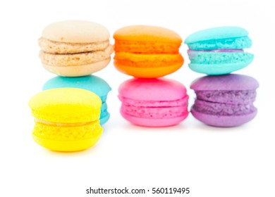 Sweet and colorful macaroons or macaron on white