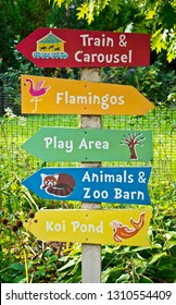 A sweet, colorful zoo sign pointing the way to various activities. Photo taken in southern Wisconsin.