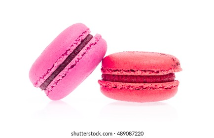 Sweet and colourful french macaroons or macaron isolated on white background