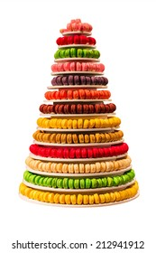 Sweet and colourful french macaroons on white background