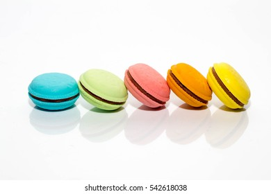 Sweet and colourful macaroons or macaron on white background, Dessert.