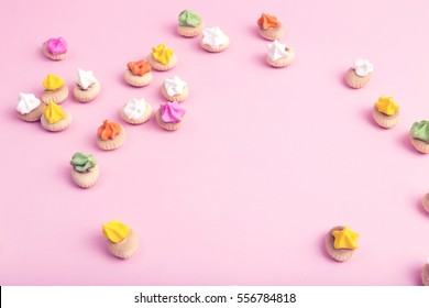 Sweet cookie on pink background.