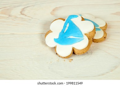sweet cookies with a blue ship decoration