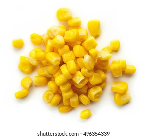 Sweet corn isolated on white background, top view