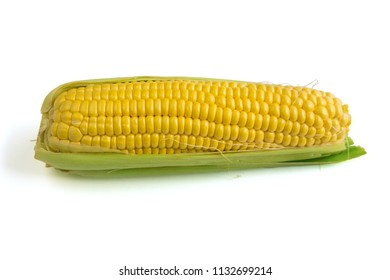 Sweet Corn with Leaf on white Background
