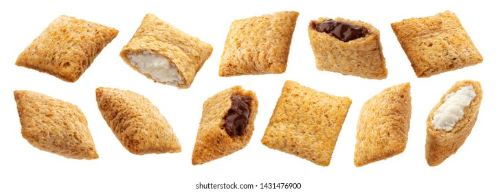 Sweet corn pads with chocolate and milk filling isolated on white background with clipping path, collection
