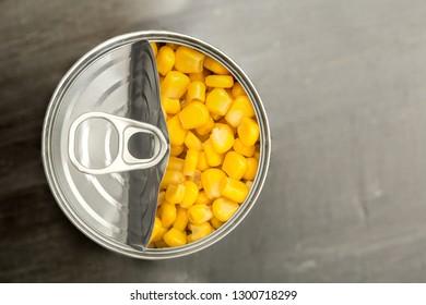 Sweet corn in a tin can