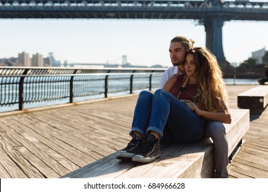 Sweet couple in Dumbo, New York City