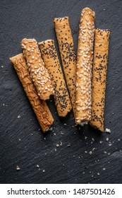 sweet crispy straw with poppy seeds