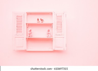 Sweet cute open window, interior design. vintage pastel color effect. Minimal style Pastel window with birds and rabbits. view with copy space, flat lay.
