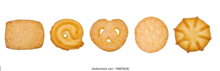 Sweet danish cookies macro on white background